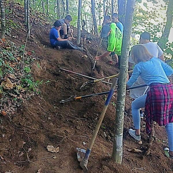 Ashe County Middle School Bike Club Trail Building Day