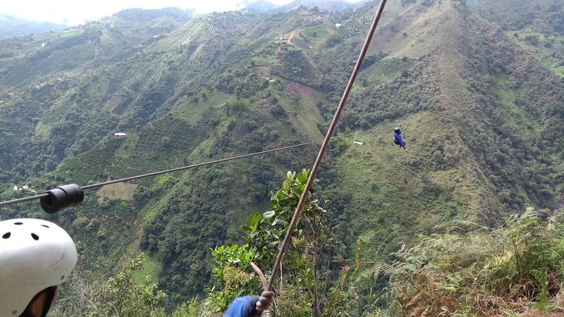 Almost there on the zip line.