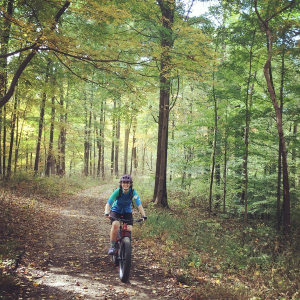 J. enjoying the autumn ride on Bartley Ridge during the 2017 Brown Bounty Epic.