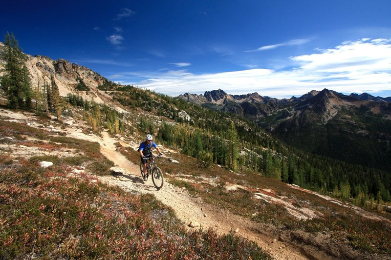 Grinding up to scenic Cutthroat Pass in the North Cascades.