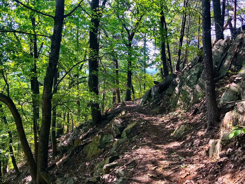 Rocky ridgeline corner on the Sinkhole descent.