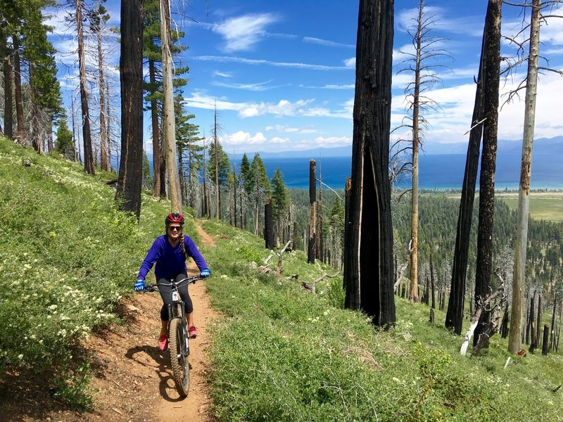 Riding up the North Side of Tahoe Mountain with Lake Tahoe in the backdrop.