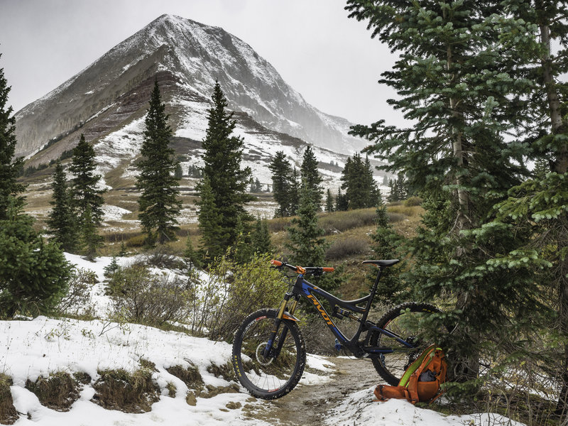 Your first view of Engineer Mountain from Pass Creek Trail during a shoulder season ride.