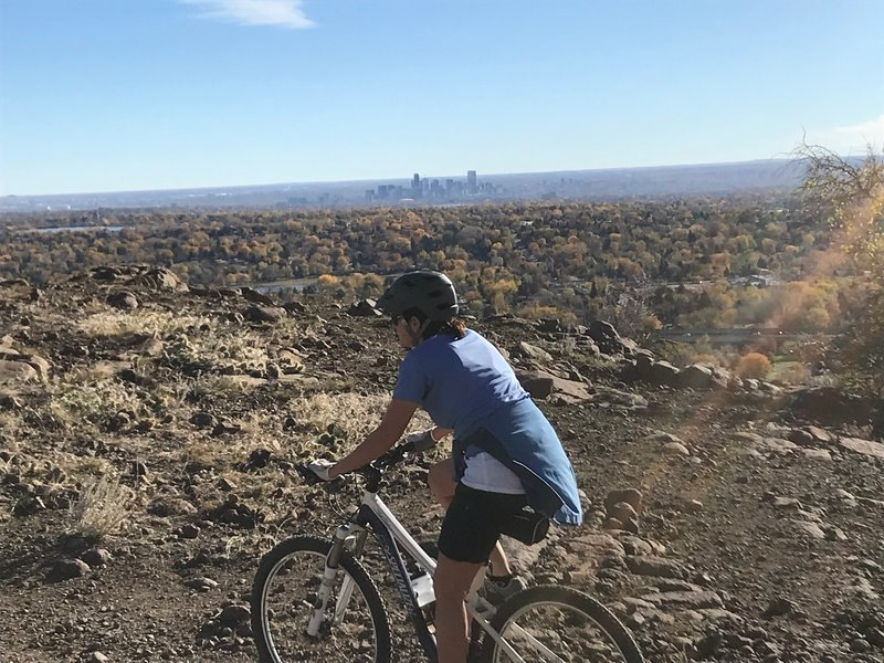 Basalt Cap Loop with fall foliage and downtown Denver to the east!