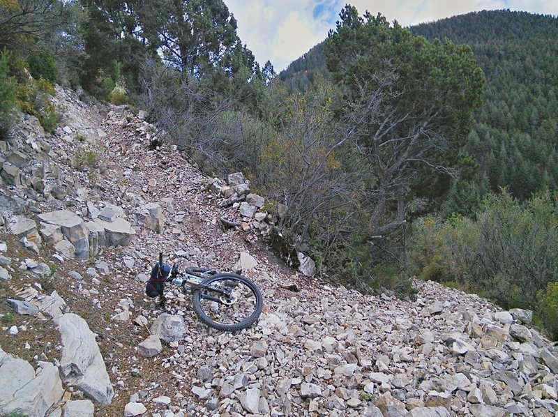 Steep but wide switchback.
