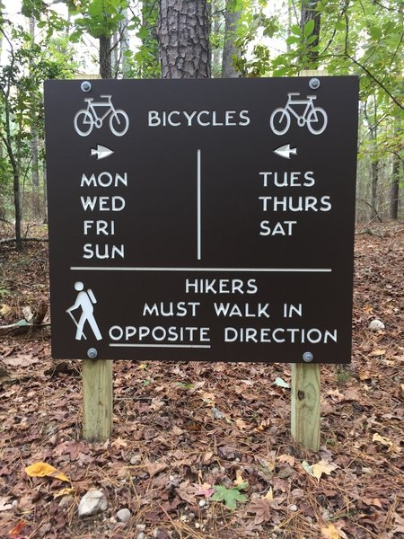 Sign shows which direction to ride or hike depending on the day of the week.