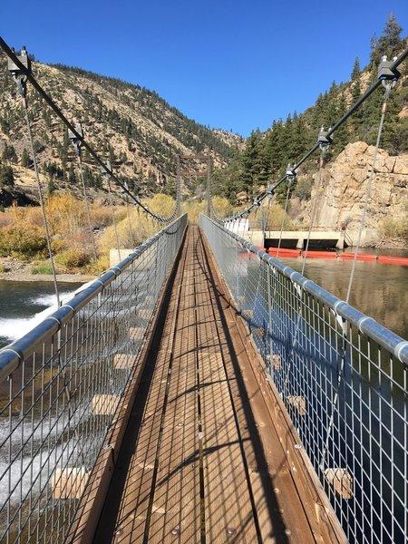 Suspension bridge across the Truckee.