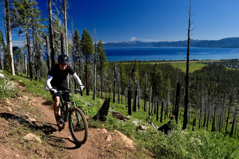The climb up Tahoe Mountain from the lake side features killer Tahoe views.