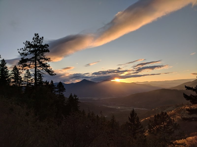 Sunset, from the Ridge Trail. Trail makes an excellent out and back evening ride from the upper parking lot.