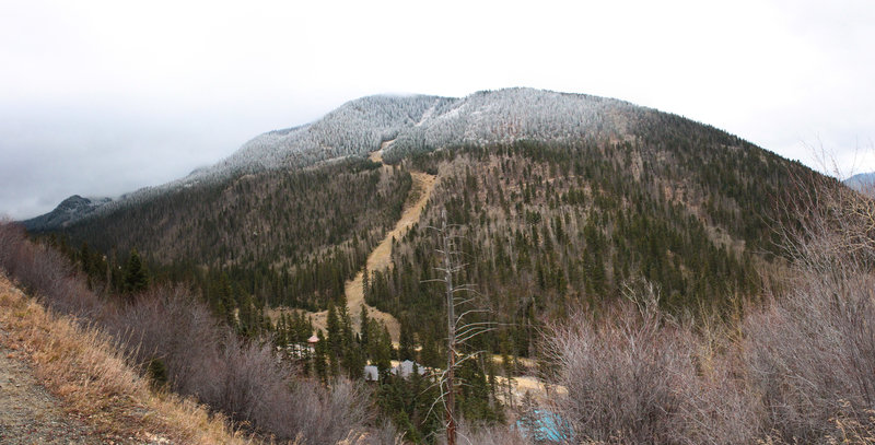 Snow on the higher peaks, October 31, 2017.  The Berminator downhill trail can be seen traversing across the forest towards Long Horn.