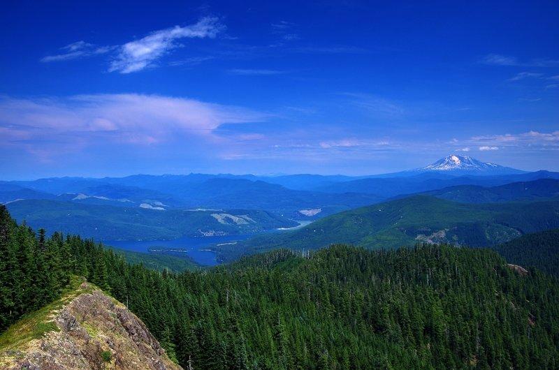 Mount Adams and Swift Reservoir from Siouxon Peak.