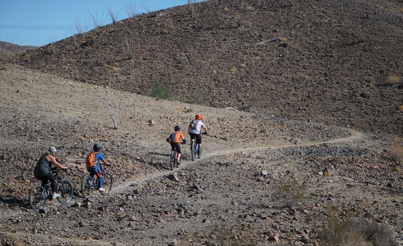 Yuma Composite middle school MTB team practices their switchbacks.