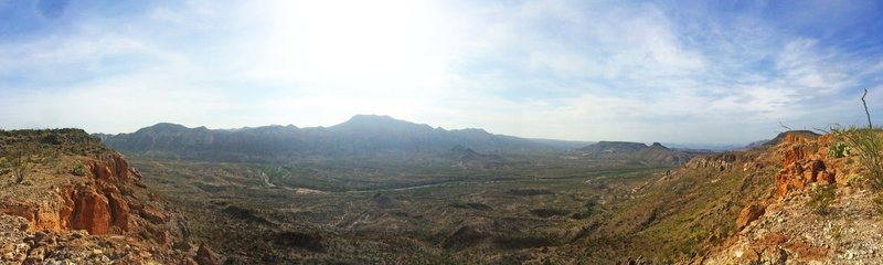 Panoramic view of Fresno Canyon from the end of Chillicothe Trail