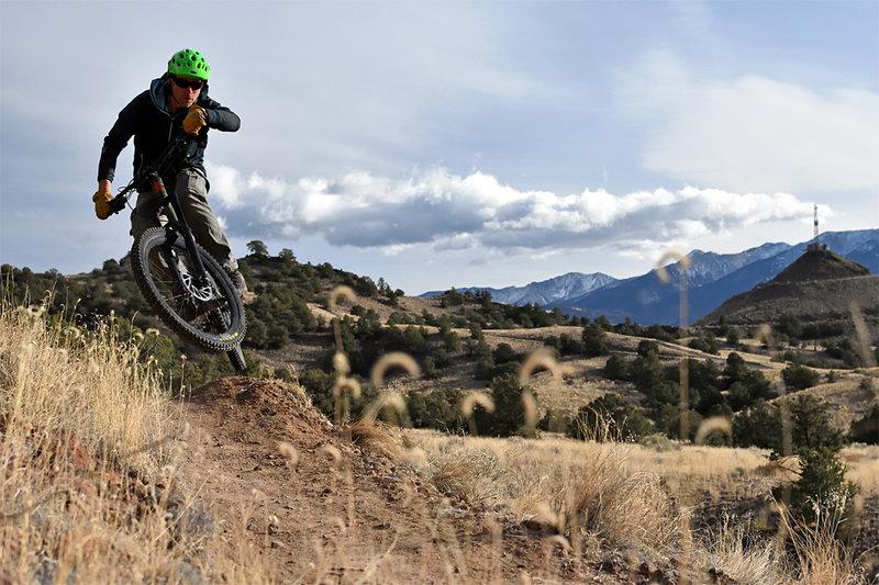 Trail builder riding his own creation.