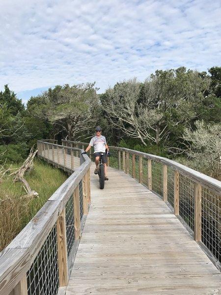 One of many Ft Macon tidal boardwalks through wetlands