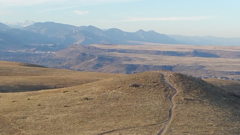 Top of Green Mountain, looking North - South Table Mtn, North Table Mtn, Golden and Longs Peak in the distance.