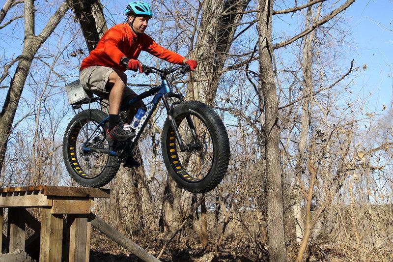 Jeff Scram (Walnut Creek Trail Leader) sending The Boardwalk drop on a Fatty!