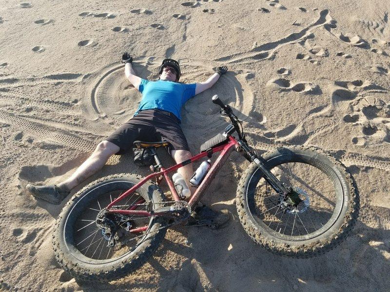Sand angel on the sandbar