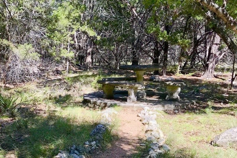 Nice lunch spot along Yaupon Creek on Hamilton Greenbelt II Trail.