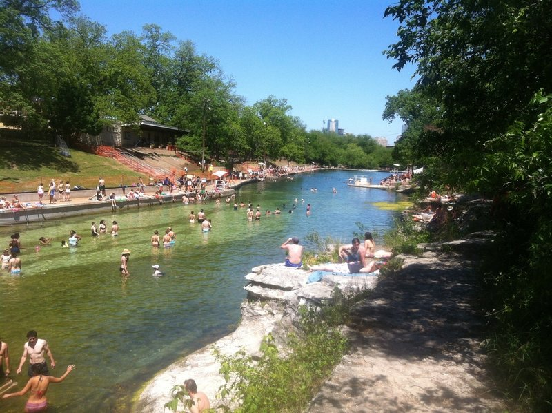 A view of downtown from the Barton Springs pool.
