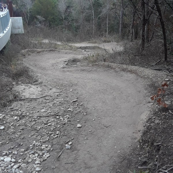 The set of berms at the bottom of the Powerline Flow Trail.