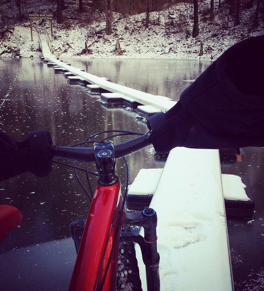 Floating Bridge Trail frozen into lakw