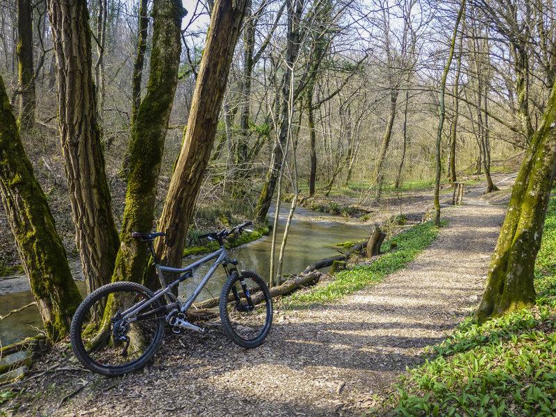 Bike path along the Torrente Roncaglia (creek)