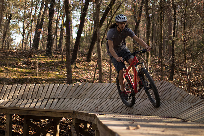 Wooden berm on Advanced Trail.