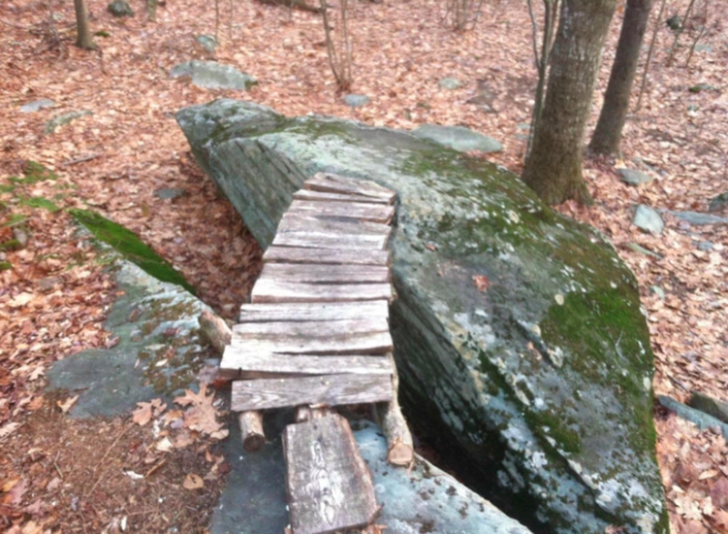 bridge between boulders