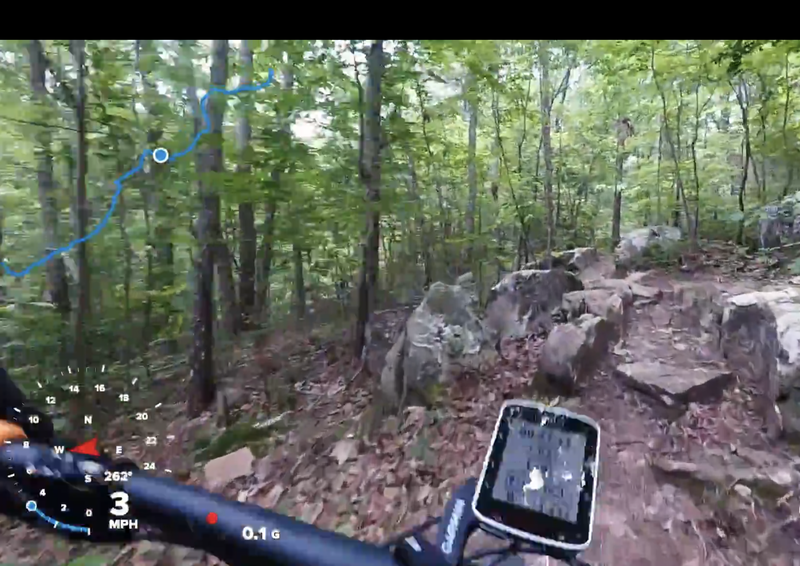 If you like hucking through rock gardens, go right at the fork and enjoy the challenging quarter mile stretch of rocks.