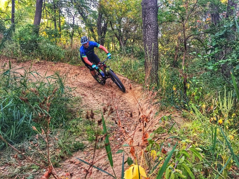 """Brian G. enjoying an """"insloped turn"""" on the Flowy McFlow Face trail :-)"""