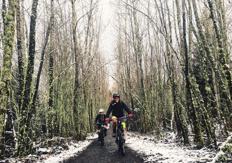 Getting after it on a winter ride.