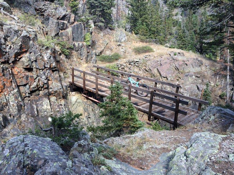 Cool bridge across creek confluence.