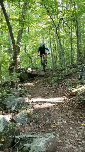 boulder on orange trail