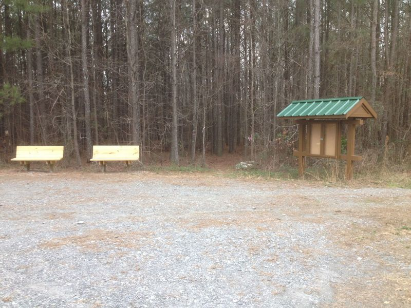 Benches installed at Austell Threadmill trailhead.