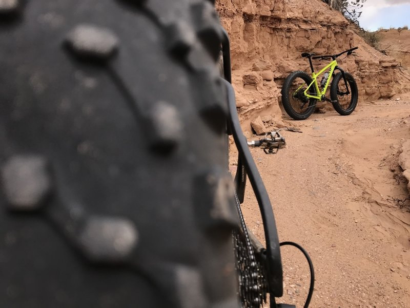 Testing out the latest carbon Fatboy in fat bike heaven.