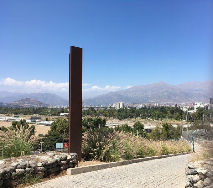 Entrance to Parque Metropolitano from Vespucio overpass at Parque Bicentenario - La Piramide.