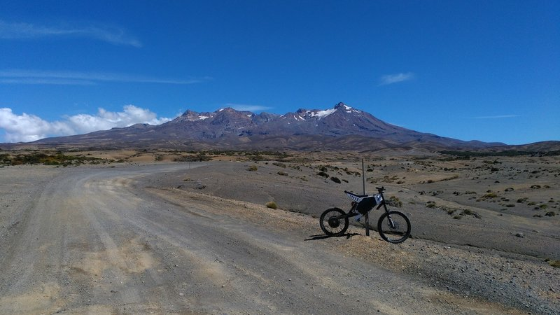 From the very start of the trail you have fantastic views of Mt Ruapehu rising above the desert.