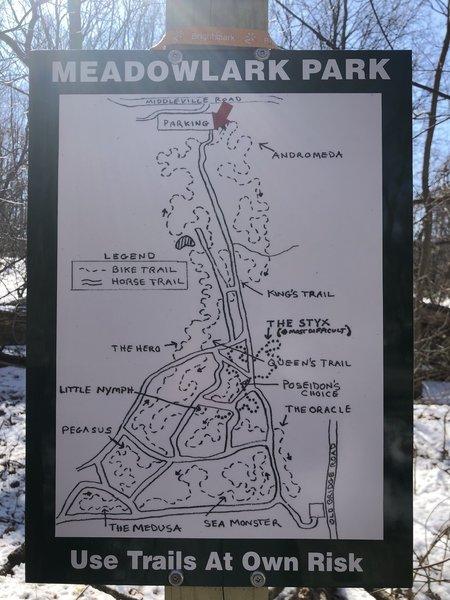 Trail map at entrance.