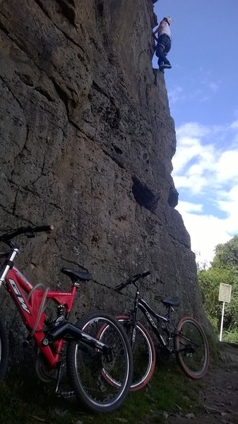 Climbing in the rocks, after a ride in the Farallon rocks