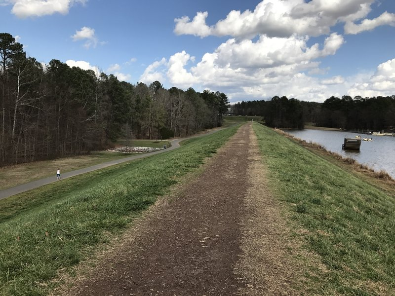 At this point, the Lake Trail traverses the top of the dam.