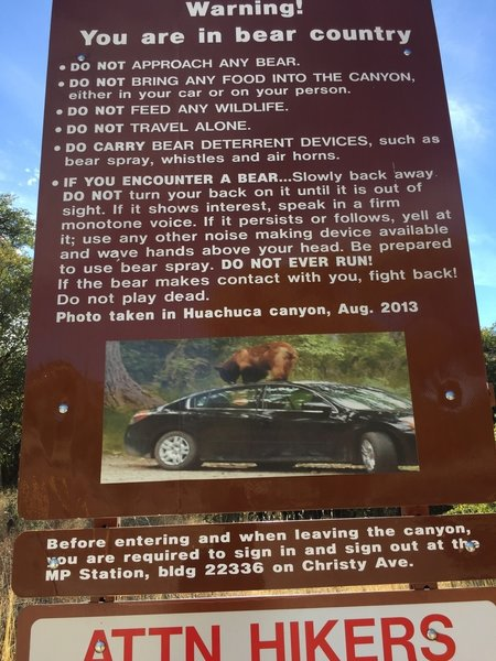 Sign located at the trailhead 03/2018.