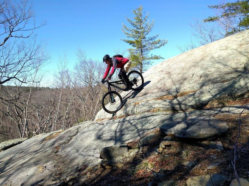 Joe rolling down - on Goliath's climb trail