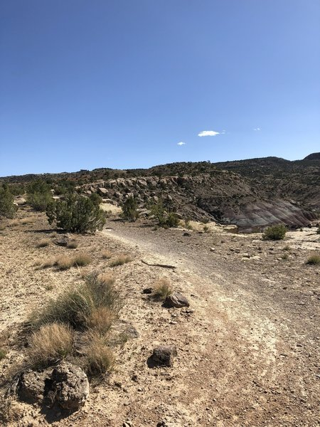 Looking down the edge of Bentonite hill from the intersection with Curt's Lane