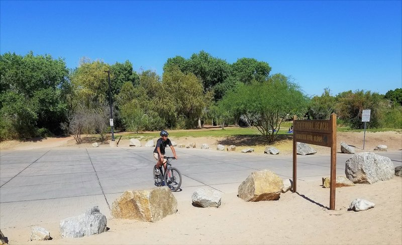 One of several access points to the trail. This is the boat ramp at what is called (but not well-known as) Centennial Beach.