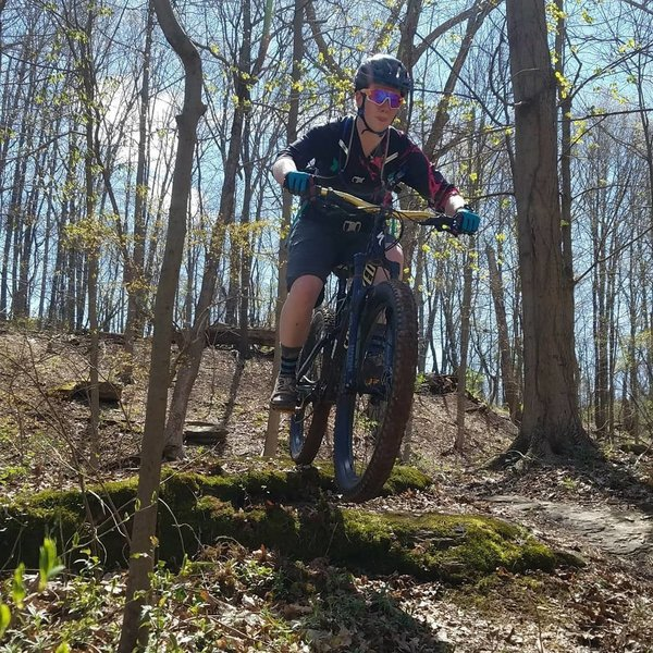 Catching a little air on a rock drop along the Prospect Trail!