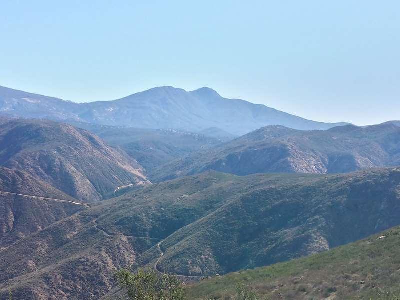 View of Eagle Peak Trail looking down from San Diego River Gorge Trail