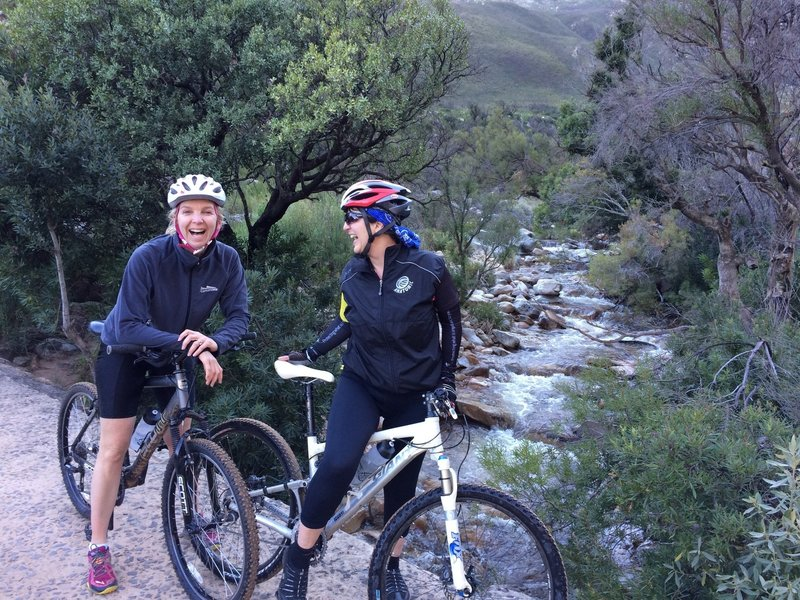 awesome trails with awesome friends - coffee at RideIn on the way back to town