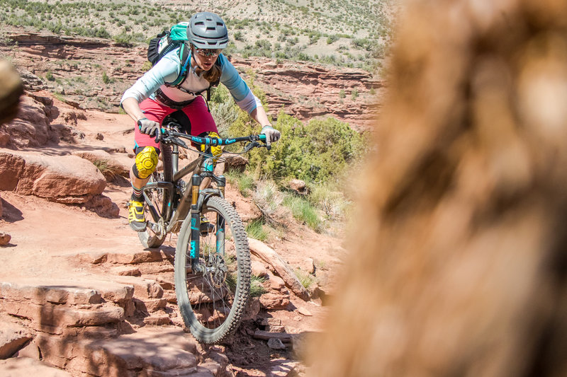 The trail gets technical as you turn away from the Colorado River