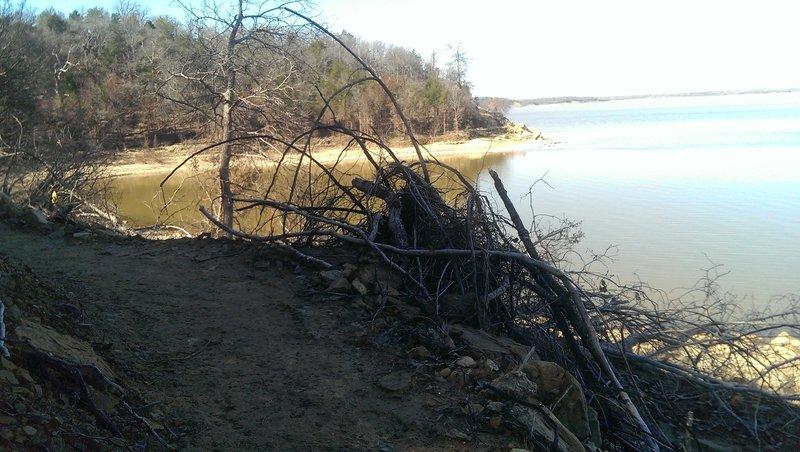 Trail alongside Lake Texoma.
